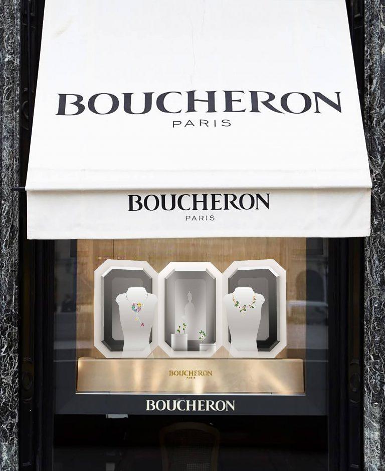 Vitrine Boucheron pans verre gris foncé et reflets