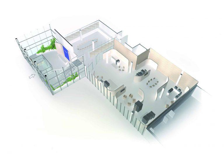 Vue 3D Glory Showroom et bureaux