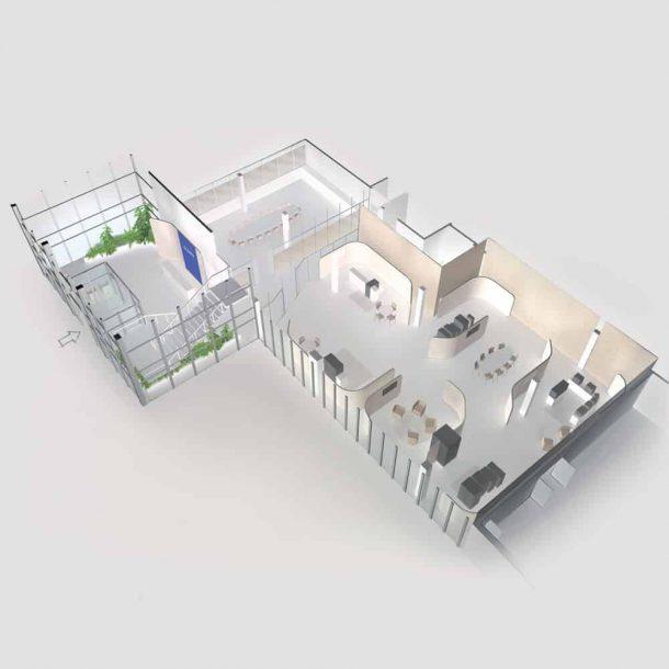 Vue 3D showroom et bureaux Glory
