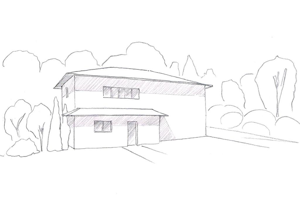 Dessin maison bioclimatique particulière
